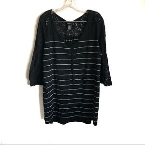 Torrid Striped Henley Tee Lace Inset